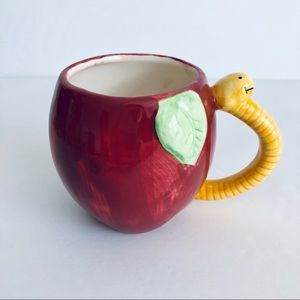 Other - Red Apple with Worm Handle Mug Pencil Holder